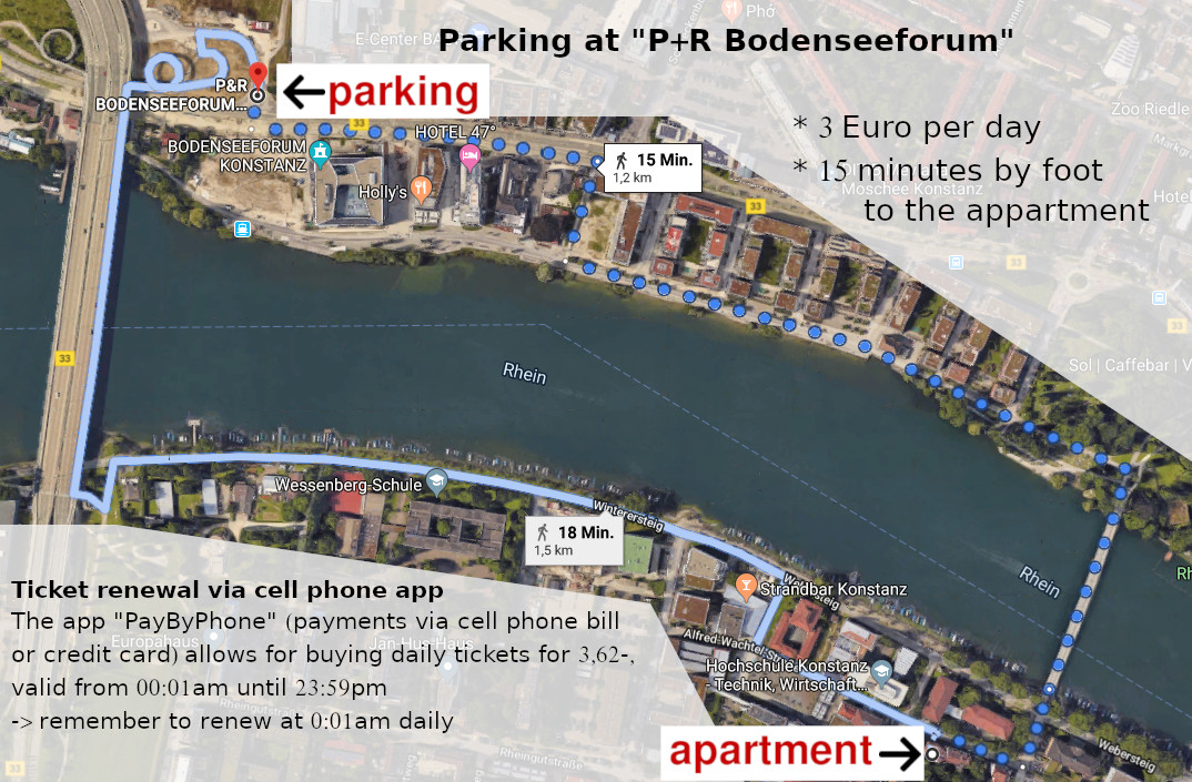 house Rheinblick - parking lot Bodenseeforum